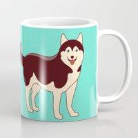 husky Mugs featuring Husky Dog by TinyBee