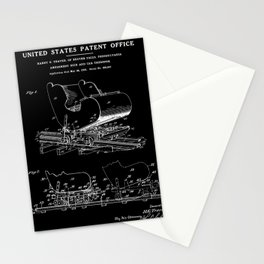 Roller Coaster Patent - Black Stationery Cards