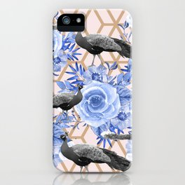 Peacocks and Blue Flowers on Geometric iPhone Case