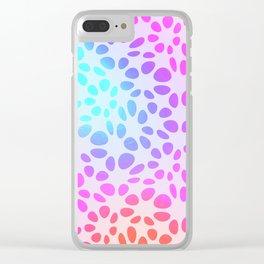 Girly pink teal orange geometrical ombre pattern Clear iPhone Case