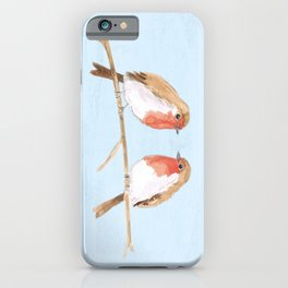 Two robins watercolor iPhone Case
