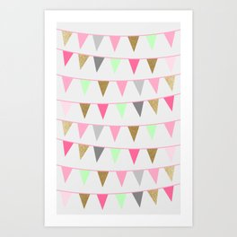 Spring Bunting Flags Art Print