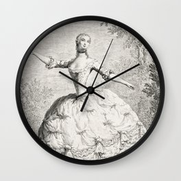 The Dancers, 18th century French ballet woman, black white drawing Wall Clock