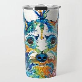 Colorful Yorkie Dog Art - Yorkshire Terrier - By Sharon Cummings Travel Mug