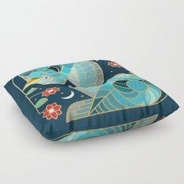 Beautiful Art Deco Midnight Bluebirds And Blossoms Floor Pillow