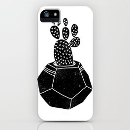 Geometric Cactus planter house plant linocut plant lady black and white hipster plants iPhone Case