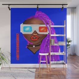 Life in 3D Version 2 (Bright Blue Backdrop) Wall Mural