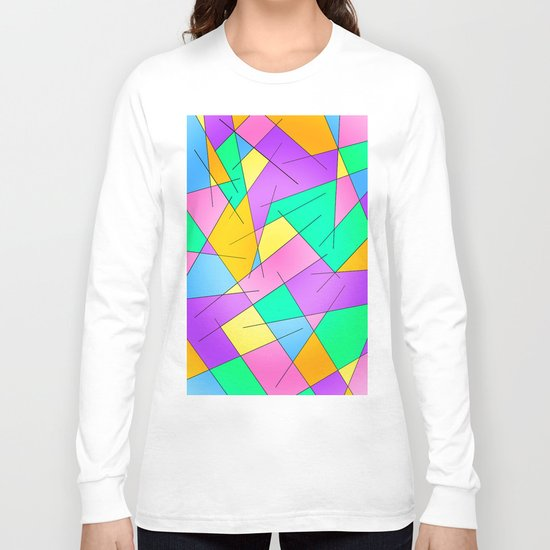 ABSTRACT LINES #1 (Multicolored Vivid) Long Sleeve T-shirt