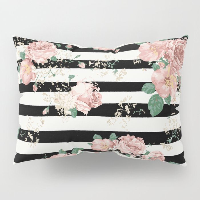 VINTAGE FLORAL ROSES BLACK AND WHITE STRIPES Pillow Sham