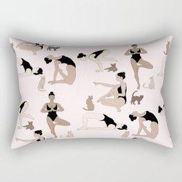 yoga with cats Rectangular Pillow