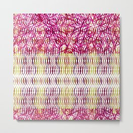 Waves and Crystals Multicolored Metal Print