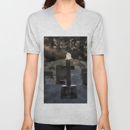 Gravestones and statue Unisex V-Neck