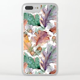 Colorful Watercolor Oak And Acorn Pattern Clear iPhone Case
