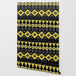 Mudcloth Style 2 in Black and Yellow Wallpaper