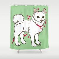 kiki Shower Curtains featuring Kiki Loves Azalea by Spoopy Surprise