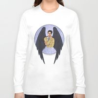 castiel Long Sleeve T-shirts featuring Castiel by White Magician
