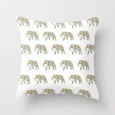 Elephlower Throw Pillow