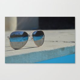 Reflection in the glasses Canvas Print