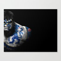 chelsea fc Canvas Prints featuring The Hulk Chelsea FC by Sport_Designs