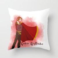 gryffindor Throw Pillows featuring Godric Gryffindor by Hailey Del Rio
