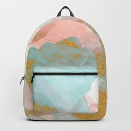 Watercolor Blue Pink gold clouds Backpack