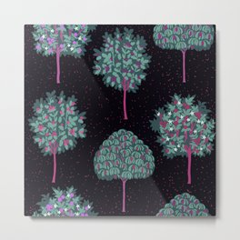 Medieval Forest at Midnight Metal Print