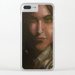 Lara Croft oil painting Clear iPhone Case