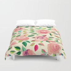 Pastel Roses in Blush Pink and Cream  Duvet Cover