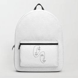 One Line Art Faces Sketch Backpack