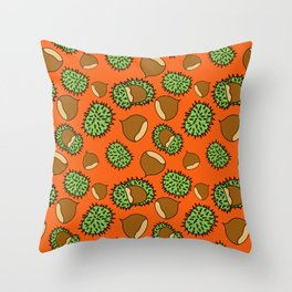 Chestnut and Chestnut Cupule Pattern Throw Pillow