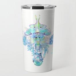 Aqua Chalcedony Luna Moth Cicada Floral Travel Mug