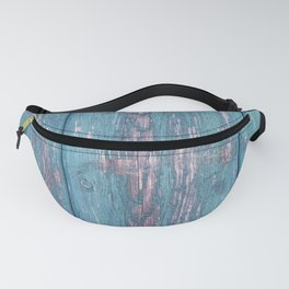 Vintage old blue door - french weathered wood - retro travel photogrphy Fanny Pack