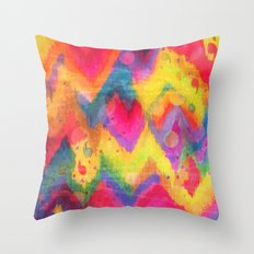 BOLD QUOTATION in NEONS 2 - Intense Rainbow Abstract Watercolor Art Painting Dream Pink Ikat Pattern Throw Pillow
