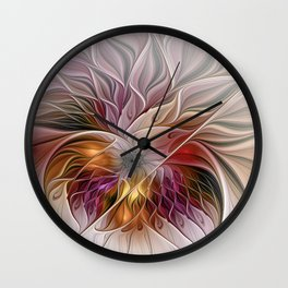 Colorful Abstract Flower Fractal Wall Clock