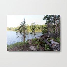 Secret Bushcraft Fishing Camp Site - Trees, Lake, & Rocks Metal Print