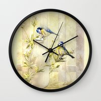 tits Wall Clocks featuring English Blue Tits by Trudi Simmonds