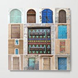 Saudi Doors Square Collage Metal Print