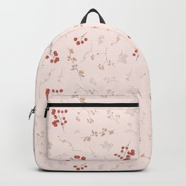 Blush pink orange red watercolor autumn floral berries Backpack