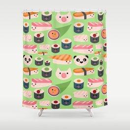 Kawaii sushi green Shower Curtain