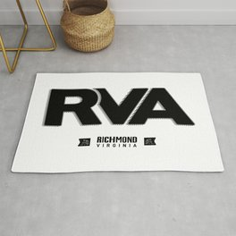 "Rva Logo - Black | "" Striped Outline "" Rug"