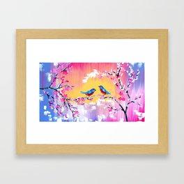 Sunset and Cherry Blossom Framed Art Print