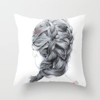 french Throw Pillows featuring FRENCH  by FunnyTummy