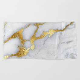 White and Gray Marble and Gold Metal foil Glitter Effect Beach Towel