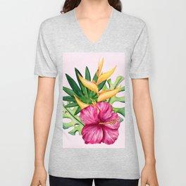 Tropical Hibiscus Summer Bouquet Unisex V-Neck