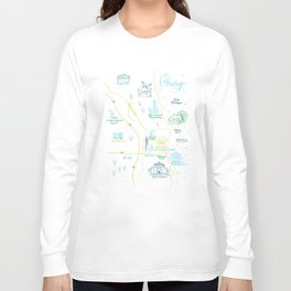 Chicago Illustrated Calligraphy Map Long Sleeve T-shirt