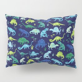 Watercolor Dinosaur Blue Green Dino Pattern Pillow Sham