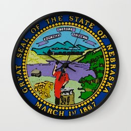 Nebraska Map with Nebraskan State Flag Wall Clock