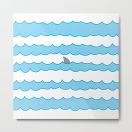 Funny Minimal Illustration Shark Fin and Waves Metal Print