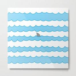 Funny Minimal Illustration Shark Fin and Waves Metal Print