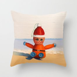 Orange at the Beach Throw Pillow